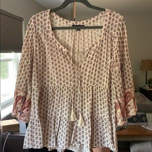 AE floral/paisley blouse with bell sleeves